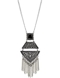 Andaaz Necklace Boho Tribal Style Oxidized Silver Pendant Trendy Tassel Choker For Girls And Women