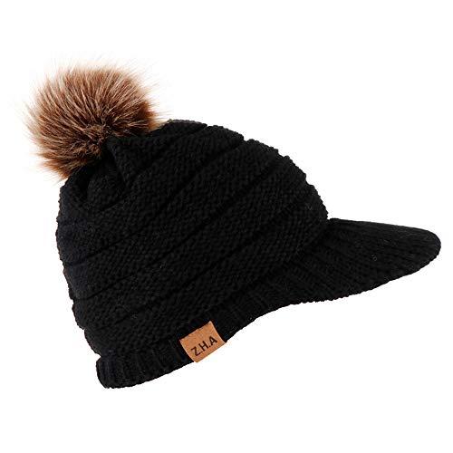 (VRTUR Damen Winter Warme StrickMütze Baumwolle Mütze Handarbeit Warm Kappen Kopfbedeckung Hut Neverless)