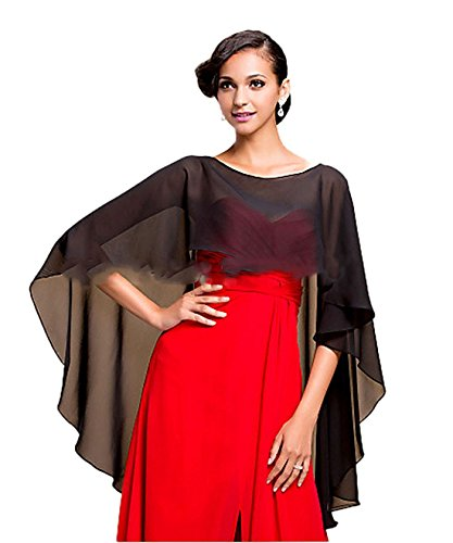 VIPbridal Chiffon Stola Schal für Kleider Brautkleid Abendkleid Hochzeit Abend Gala Empfang (Black)