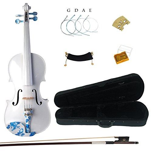 Kinglos 4/4 Einfach Farbig Ebenholz Beschläge Massivholz Violine Geige mit Harten Fall, Schulterstütze, Bogen, Kolophonium, Brücke und Saiten (DS005)