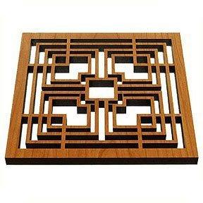 Frank Lloyd Wright Storer Textile Block Hardwood Trivet by Lightwave Frank Lloyd Wright Textile-block