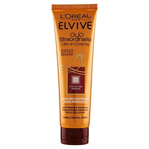 L'Oréal Paris Elvive Olio Straordinario Crema Ricca Nutriente per Capelli Secchi Crespi, 150 ml - [pacco da 3]