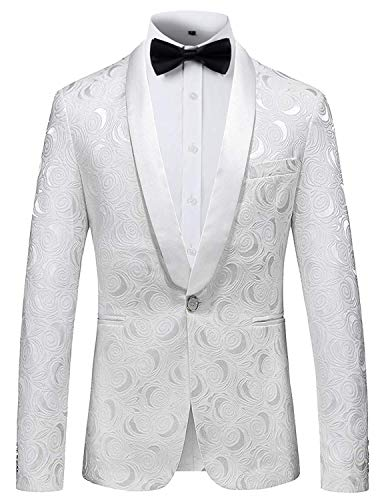 PIZOFF Herren Premium Regulär Geschnittener Weiss Jacquard Blazer Wedding Smoking Sakko geblümter Anzugjacke aus Paisley Blumenmuster, 01200001x04, Gr. XXL - Paisley Print Western Shirt