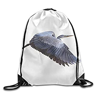 MISYRC Great Blue Herons Ardea Herodias In Flight Isolated On White Drawstring Bags Travel Gym Backpack