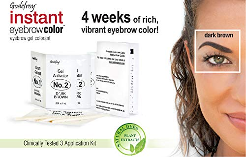 Godefroy Instant Eyebrow Tint Botanicals 3 Applications Included, Dark Brown by Godefroy