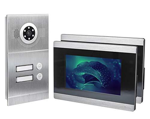 GVS IP Video Türsprechanlage, Unterputz-Türstation IP65, 2X 7 Zoll Monitor, Handy-App, HD-Kamera 115°, Türöffner-Funktion, 32GB Foto-/Video-Speicher, PoE-Switch, 2 Familienhaus Set, AVS2030U