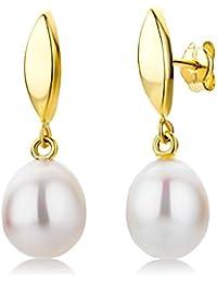 Miore Damen-Ohrringe 9 Karat 375 Gelbgold Perlen weiss ca. 8mm