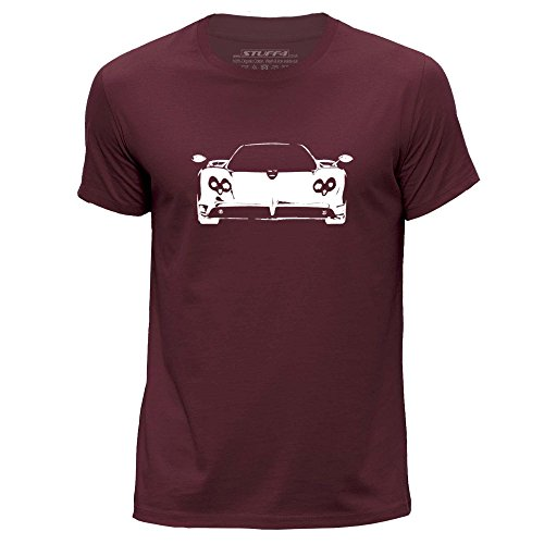 stuff4-mens-medium-m-burgundy-round-neck-t-shirt-stencil-car-art-zonda-f