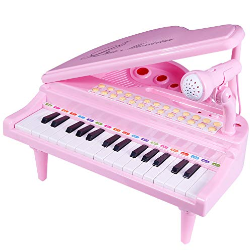 SGILE 31 Keys Piano Toys for Girls - Electronic Keyboard Musical Toy Set with Microphone Light and Song, Learn-to-Play for Kids Toddlers Singing Music Development, Audio link with Mobile MP3 IPad PC, Pink
