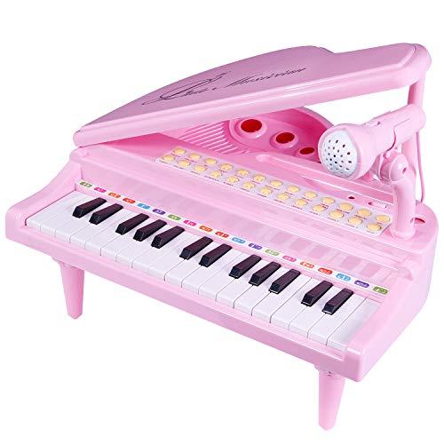 SGILE Piano per Bambini, 31 Tasti Strumento Multifunzione con Microfono, Giocattolo Musicale Bambini, Regalo di Natale per Bambina 3 4 5 Anni (Rosa)