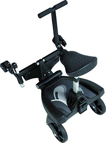 Fillikid Buggy-Board 180° mit 3fach verstellbaren Sitz | Filliboard Mitfahrbrett grau | universal passend für alle Kinderwägen & Buggies | Rollbrett für Kinderwagen Buggy Jogger bis 20 kg, Größe:Set mit Zusatzsitz