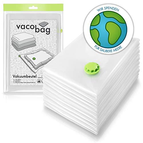 10 Premium Vakuumbeutel inkl. Reise Kompressionsbeutel (3 Größen) | sichere & platzsparende Aufbewahrung von Textilien | Staubsauger Vakuumier Beutel für Kleidung | Aufbewahrungstasche f. Bettdecken