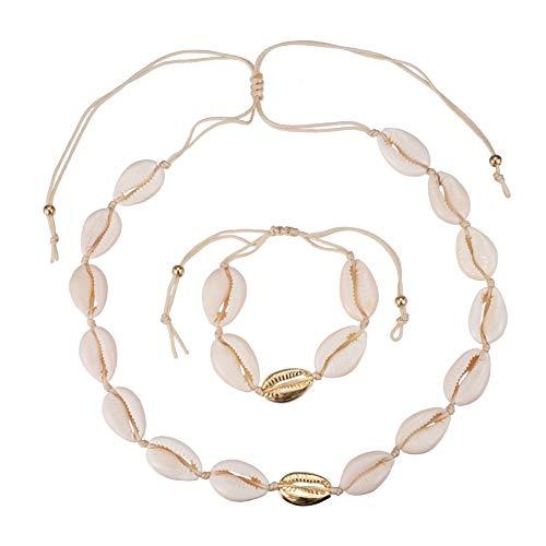 HooAMI Muschelkette Damen Choker Boho Muschel Halskette mit Muschelarmband Hawaii Einstellbare Strand Schmuck für Frauen Mädchen Gold und Weiβ