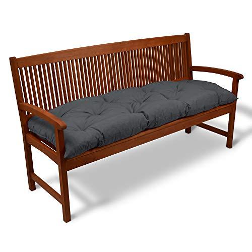 Beautissu Bankauflage Flair BK ca.180x50x10 cm Bequeme Polster Garten-Bank Auflage Sitzauflage Bank in Graphitgrau erhältlich
