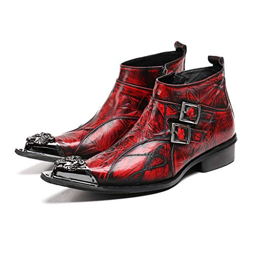 b3940348 Mr.Zhang's Art Home Men's shoes Zapatos de Hombre de Punta roja Botas de  Cuero