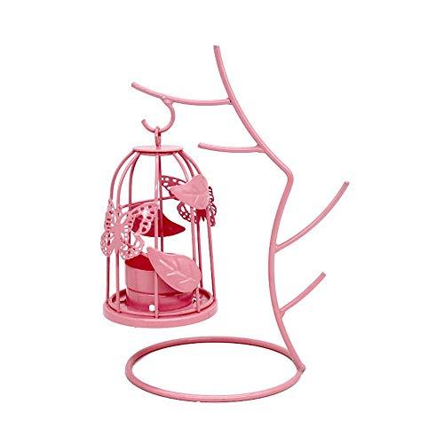 Wszzy portacandele,candelabro in ferro battuto con gabbia per uccelli, decorazione da tavolo per cena romantica di matrimonio europeo creativo, rosa