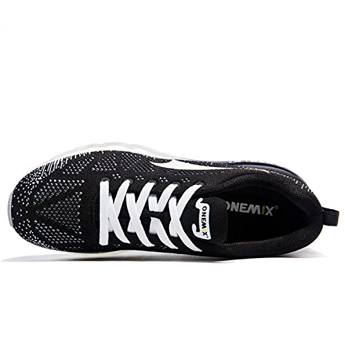 ONEMIX Chaussures de Course Air Running Sport Compétition Trail Entraînement Femme Baskets Gym Fitness Noir / Blanc