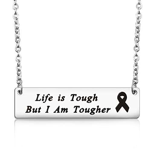 MAOFAED Cancer Survivor Gift Cancer Fighter Gift Life is Tough But I am  Tougher Cancer Awareness Inspirational Gift Awareness Ribbon Charm Cancer