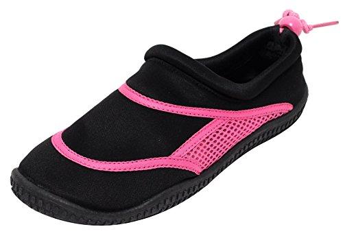 NEOPREN Damen Mädchen Aquaschuhe Badeschuhe Wasserschuhe Schwimmschuhe Slipper Strandschuhe Duschschuhe Neoprenschuhe schnelltrocknend schwarz pink