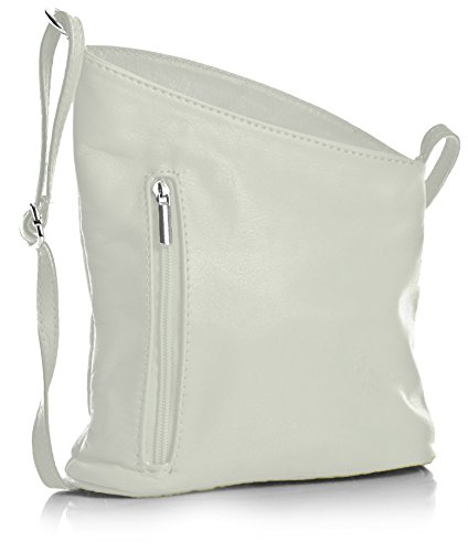 - 41TdeXlWRcL - Big Handbag Shop Womens Small Genuine Soft Venenzi Italian Leather Cross Body Bag (V114 White)