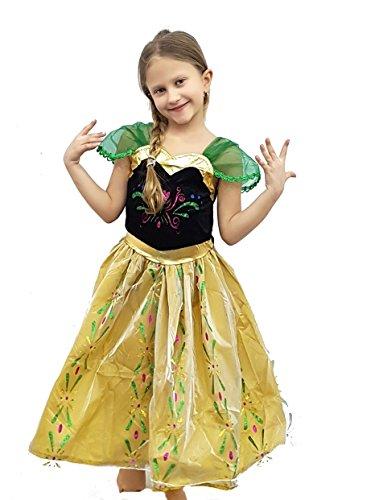 ropa nueva máscara de carnaval películas Halloween juego cosplay del traje del carácter de la muchacha de la niña de la princesa princesa de ana congelado Elsa tg xl vestido corto 130 -140 cm