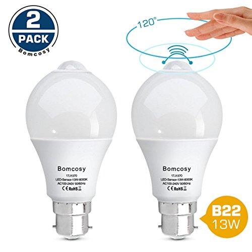 Bomcosy, 13W B22LED-Leuchtmittel, Smart Sensor, entspricht 100Watt, automatisches Ein-/Ausschalten, für Veranda, Garage, Keller, 2 Stück, Cool White 6000k 13.00W 230.00V