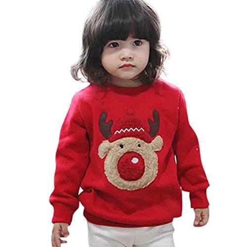 (feiXIANG Sweatshirt Mädchen Jungen Weihnachten Langarm Hirsch Print Baby Tops O-Ausschnitt (Rot,80))