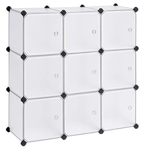 Songmics ULPC116WSV1 Aufbewahrungswürfel aus Kunststoff, modularer Schrank mit Türen für Kleidung, Schuhe, Spielzeug, Buch für Schlafzimmer, Wohnzimmer, Büro, mit Gummihammer, Weiß -