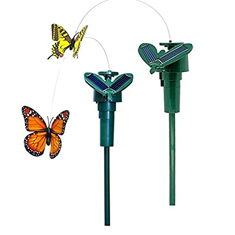 iLory Pack of 2 Solar and Battery Powered Flying Wobble Fluttering Butterfly for Patio Garden Yard Stake Plants Flowers Wedding Outdoor Decor Random