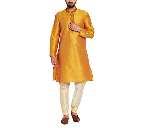 Royal Sojanya Men's Dupion Silk Kurta Churidaar With Self Brocade Design In Front X-Large Mustard And Beige (Kurta Brocade)