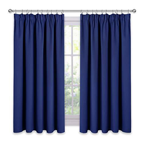 PONY DANCE Gardinen Verdunkelung Kräuselband - Blickdichte Vorhänge für Wohnzimmer Schlafzimmer Dekoschals Thermovorhang Wärmeisolierend, 1 Paar H 137 x B 117 cm, Dunkel Blau - Vorhänge Wohnzimmer Für Blau