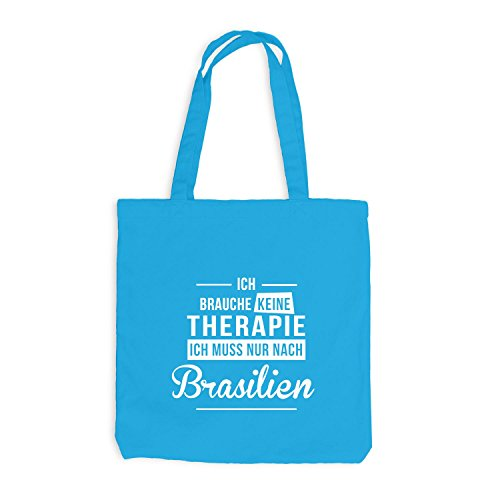 Jutebeutel - Ich Brauche Keine Therapie Brasilien - Therapy Urlaub Brazil Surfblau