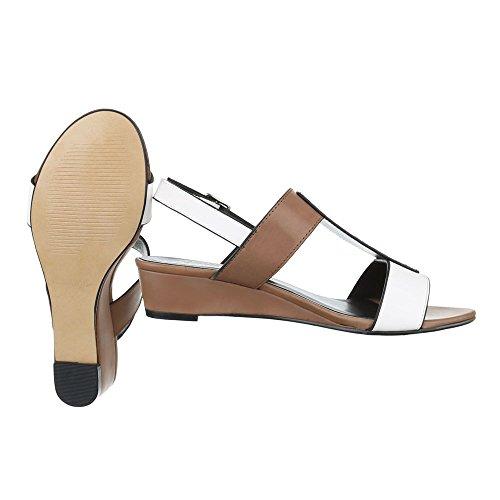 Ital-Design , Sandales pour femme Weiß Braun