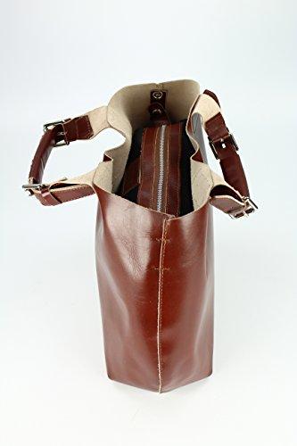 BELLI exclusive ital. Leder Handtasche Damentasche Henkeltasche Umhängetasche - Farbauswahl - 41x32x15 (B x H x T) maronenbraun