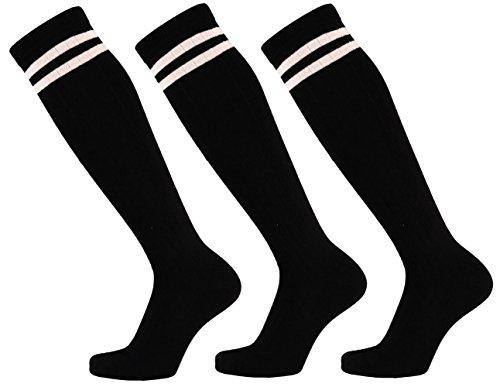 krautwear Damen Mädchen Cheerleader College (3 Paar) Kniestrümpfe 2 Streifen Gestreifte Overknees Sportsocken Knie-Lange Geringelte Strümpfe Geringelt Gestreift Streifen Schwarz Weiß - Schwarz Und Weiß Gestreiften Socken Kostüm