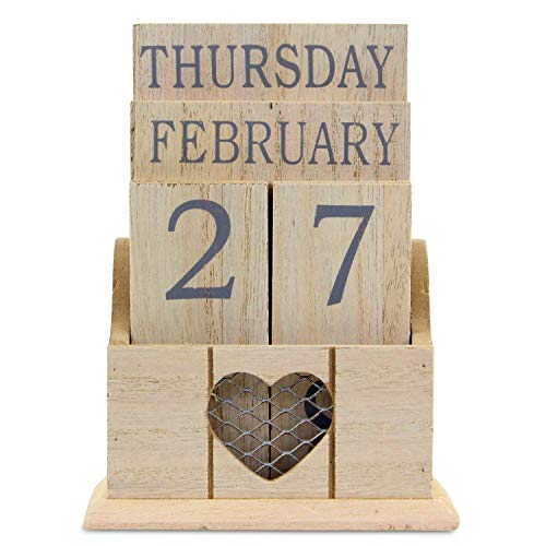 Joe Davies Country Hearts Wooden Perpetual Calendar