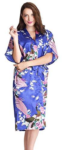 Aibrou Kimono Robe de Chambre Chemise de Nuit Femme Fleurs Paon sous vêtements longue Bleu royal