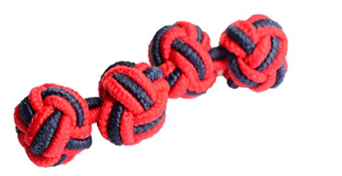 elastic-knot-cufflinks-in-red-and-navy-scots-guard-colour-scheme