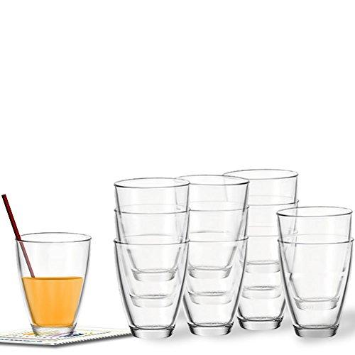 Montana Set/12 Saftbecher today, Wasserglas Gläser Saftglas m. gratis Dekokaufhaus-Untersetzern, Gläserset 35cl