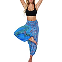 Fankle Women's Harem Pants Vintage Bohemian Print Casual Loose Breathable Premium Yoga Trousers Baggy Aladdin Elasticated Fitness Hippy Tapered Pants Loungewear(Blue,Free Size)