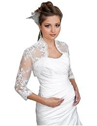 bolro femme pour jeune marie mariage veste possde les manches 34 dcor de perles - Bolro Mariage Ivoire