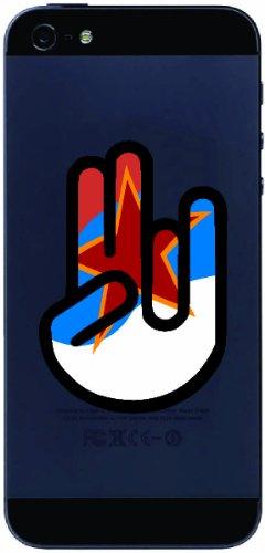 The Shocker Hand - Handyaufkleber / Handyskin / Aufkleber - Decal Sticker - 70x50 mm - schwarzer Umriss mit Fahne / Flagge - Trinidad & Tobago-Trinidad & Tobago (Trinidad Auto Fahne)