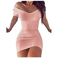 Coolred المرأة بدون كتف الصيف Bodycon مثير سليم اللباس القصير زهري XL