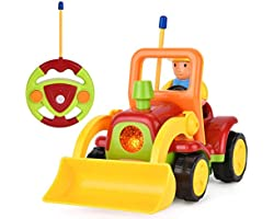 Remote Control Digger Toddler Toys Car-Construction Vehicle Toys with Light and Sound,Birthday Gift Present for 2 3 4 Years O