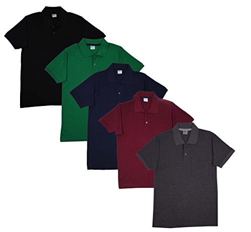 Fleximaa Men's Cotton Polo Collar T-Shirts With Pocket Combo Pack (Pack of 5) -Black, Navy Blue, Green, Maroon & Charcoal Milange Color.