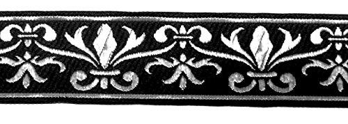 10m Französische Lilie Borte Fleur de Lis Webband 35mm Farbe: Schwarz-Silber von 1A-Kurzwaren 35060-swsi Jacquard-fleur De Lis