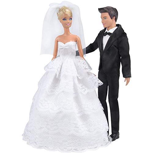 E-TING Prinzessin Hochzeit Kleid Kleid Abend Party weißer Spitze Partykleid Stickerei mit Schleier Outfit Set + Formellen Anzug Outfit für ()