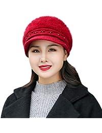 Sombreros de Invierno para Las Mujeres Invierno Cálido Gorro de Perla  Sombrero de Punto Boina Beanie fa0b944bfe7