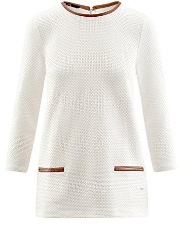 oodji Ultra Damen Pullover aus Strukturiertem Stoff mit Kunstlederbesatz Weiß (1200N)