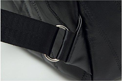 Yan Show Damen Stitching Schultertaschen Niet Rucksack Handtasche Multifunktions Tasche(Schwarz) Schwarz